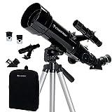 Celestron Travel Scope 70 - Telescopio portable con ampliación de 20x, longitud focal 40 cm, color negro, abertura de 70 mm