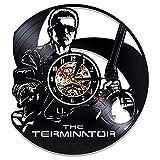 LKJHGU Reloj de Pared con Disco de Vinilo Schwarzenegger diseño Moderno decoración 3D Tema Deportivo Reloj de Pared de Vinilo Colgante decoración del hogar