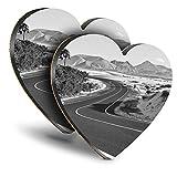 Destination Vinyl ltd Great Posavasos (Juego de 2) Corazón - BW - Corralejo Fuerteventura Canarias Beber Posavasos brillante/Protección de mesa para cualquier tipo de mesa #37482