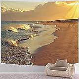 DJNGN Tapiz de Playa Tapiz de Arte psicodélico Playa de Morro Jable en Fuerteventura Tapiz de Puesta de Sol Tapiz de Paisaje Natural Tapiz de Pared para habitación, 80x60 in