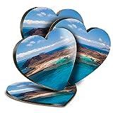 Destination Vinyl ltd Great Posavasos (juego de 4) Corazón – Lobos Island Fuerteventura Canaries Drink brillante posavasos / protección de mesa para cualquier tipo de mesa #16565