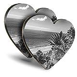 Destination Vinyl ltd Great Posavasos (Juego de 2) Corazón – BW – Fuerteventura Island Beach Canaries Drink brillante Posavasos / protección de mesa para cualquier tipo de mesa #37454
