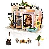 Cuteefun Casa Miniatura para Montar DIY Adultos Mini Habitación Hecha a Mano con Música a Prueba de Polvo y Muebles para Decoración, Regalos Artesanales Creativos para Mujeres (Music Studio)