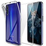 MP-MALL Funda para Huawei Honor 20 / Huawei Nova 5T, Carcasa Cubierta Caucho Suave TPU Silicona Gel Goma Case Cover con Screen Protector[1 Pack] para Huawei Honor 20 / Huawei Nova 5T - Clara