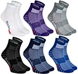 Rainbow Socks - Hombre Mujer Calcetines Deporte Colores de Algodón - 6 Pares - Púrpura Negro Gris Azul Marino Azul Blanco - Talla 42-43