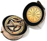 Latón bolsillo de reloj de sol brújula–Reloj solar brújula