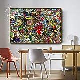 Cuadro En Lienzo Doodle de la ciudad con casas, automóviles y personas, decoración de la pared para la sala, arte de la pared, imagen, pósters para el hogar, ilustraciones60x90cmPintura sin marco